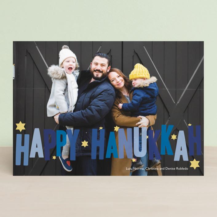 """Hip Hanukkah"" - Hanukkah Postcards in Cobalt by Sarah Lenger."