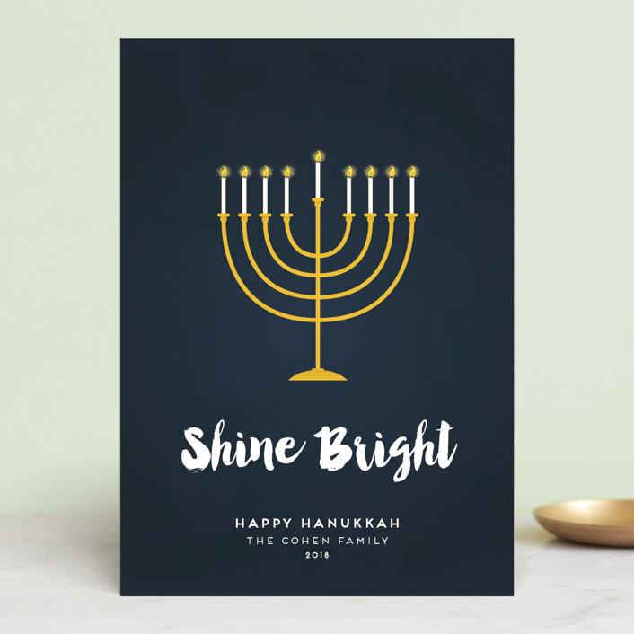 """Shine Bright Menorah"" - Hanukkah Postcards in Navy by Sara Showalter."
