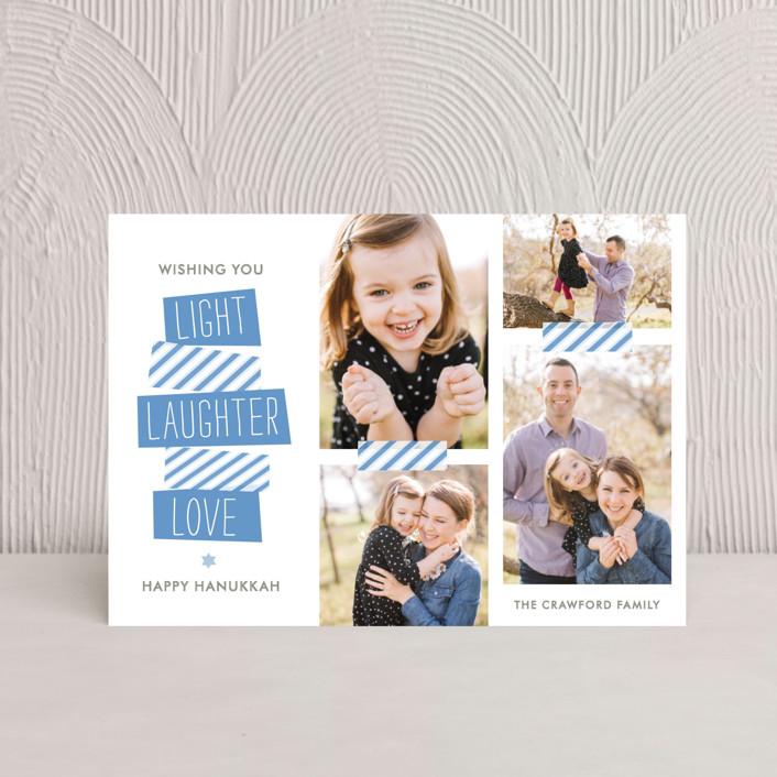 """Stacked"" - Hanukkah Postcards in Ocean Blue by The Social Type."