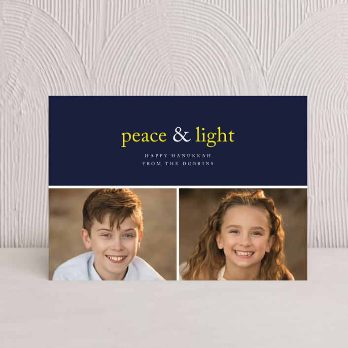 """Peace & Light"" - Bold typographic, Modern Hanukkah Postcards in Navy by emily elizabeth stationery."