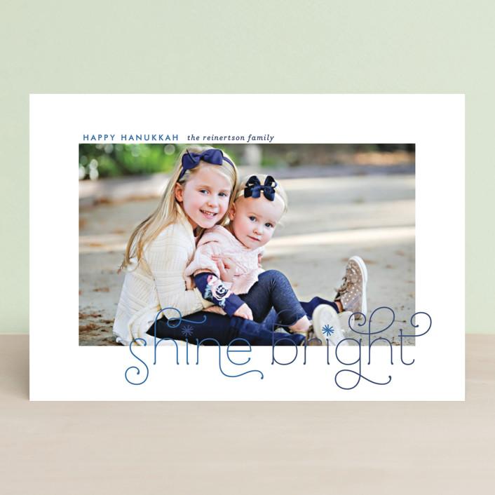 """Bright Burst"" - Vintage Hanukkah Postcards in Sapphire by Lauren Chism."