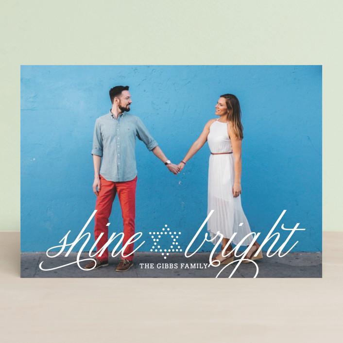 """Bright Star"" - Hanukkah Postcards in Pearl by Yolanda Mariak Chendak."