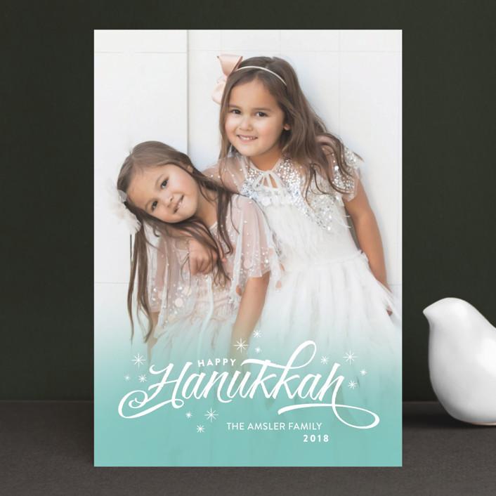 """Ombre Stars"" - Bohemian Hanukkah Postcards in Aqua by Aspacia Kusulas."