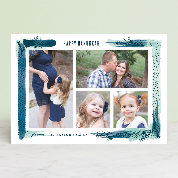"""""""Paint Swash Pine Border"""" - Hanukkah Postcards in Ice Blue by Alethea and Ruth."""