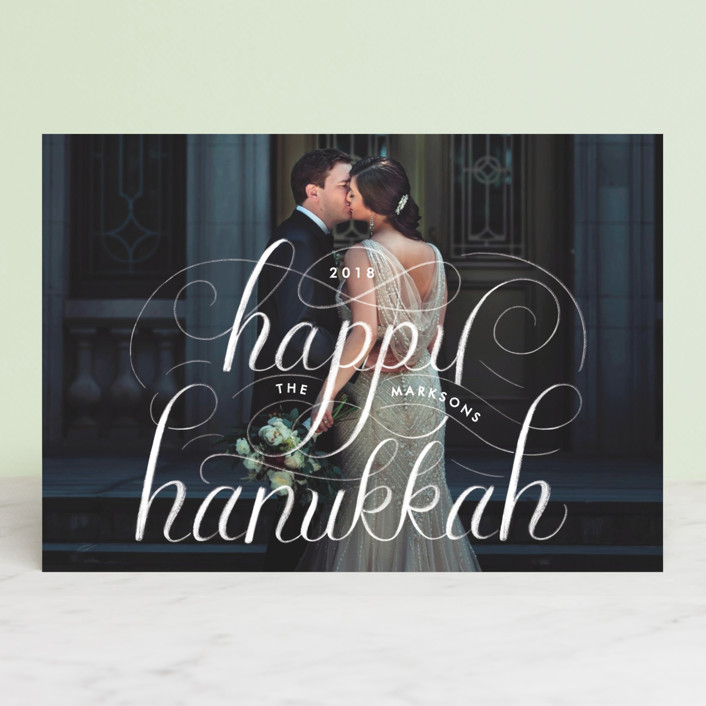 """Happy Hanukkah Chalk Lettering"" - Hanukkah Postcards in Stormy by Becky Nimoy."