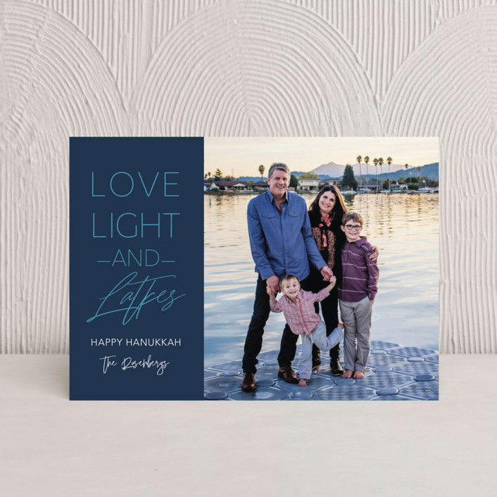 """Love Light and Latkes Hanukkah"" - Hanukkah Postcards in Navy by Erika Firm."