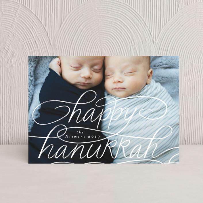 """Happy Hanukkah Hand Lettering"" - Hanukkah Postcards in Snow by Becky Nimoy."