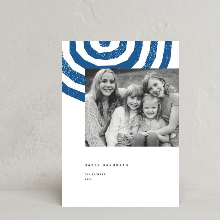 """""""Hanukkah Menorah"""" - Hanukkah Postcards in Cobalt by Sumak Studio."""