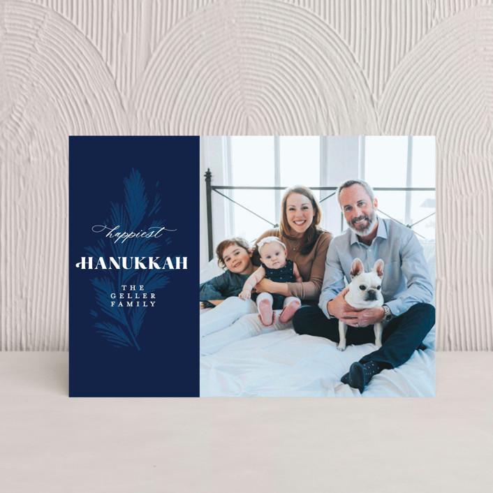 """Hanukkah Branch"" - Hanukkah Postcards in Navy by Paper Raven Co.."