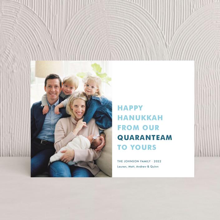 """The Quaranteam"" - Hanukkah Postcards in Blue Spruce by Toast & Laurel."
