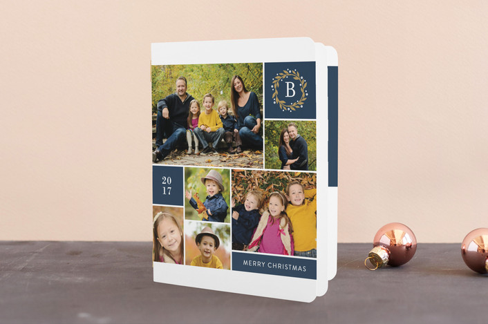 """Multiple Photo Monogram"" - Classical Holiday Booklette Cards in Navy by Jill Means."
