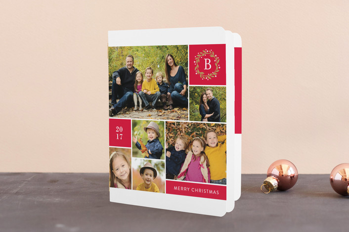 """Multiple Photo Monogram"" - Holiday Booklette Cards in Ruby by Jill Means."