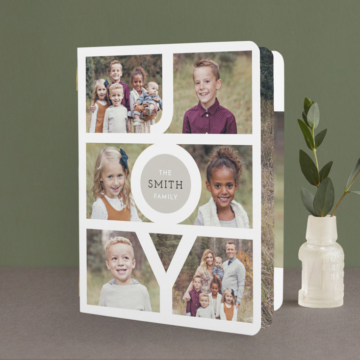 """""""Modern Family Joy"""" - Photo Collage Holiday Booklette Cards in Ruby by Playground Prints."""
