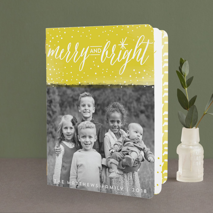 """""""Bright Snowy Day"""" - Modern Holiday Booklette Cards in Sunshine by Susie Allen."""