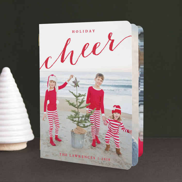 """""""Scripted Cheer"""" - Full-Bleed Photo Holiday Booklette Cards in Ruby by Stacey Meacham."""