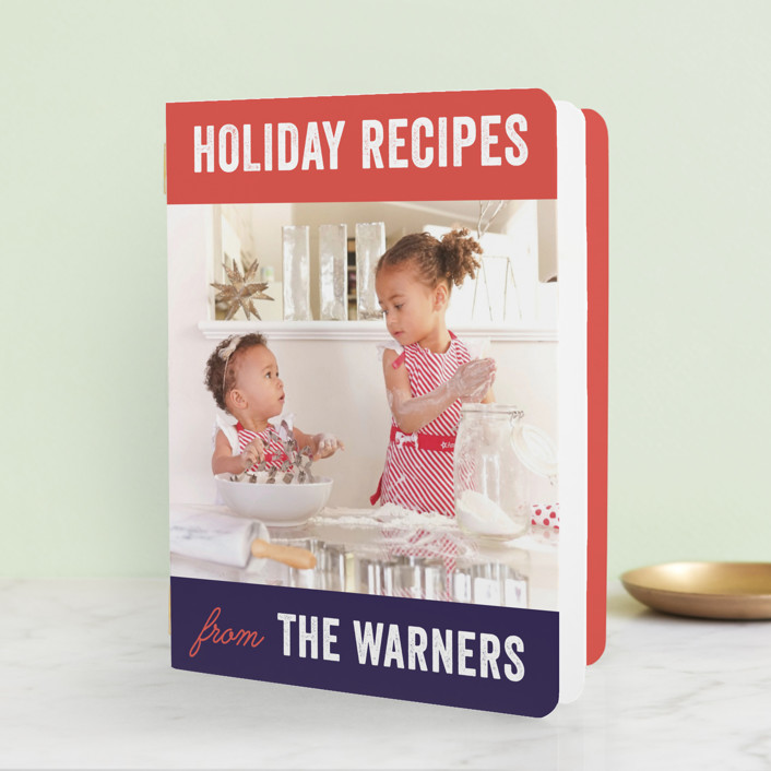 """Family Recipes"" - Modern, Bold typographic Holiday Booklette Cards in Tomato by Frooted Design."