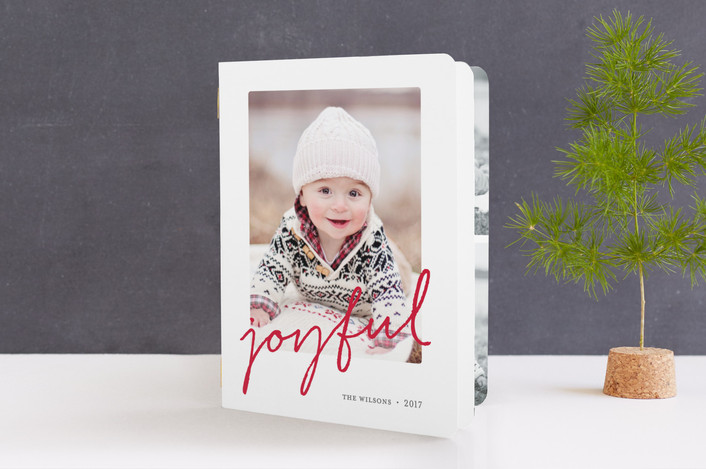 """""""Joyful Memories"""" - Simple, Classical Holiday Booklette Cards in Candy Cane by Sara Hicks Malone."""