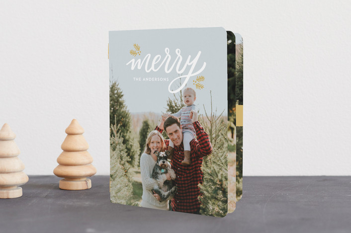 """""""Festive Merry"""" - Holiday Booklette Cards in Golden by Little Print Design."""