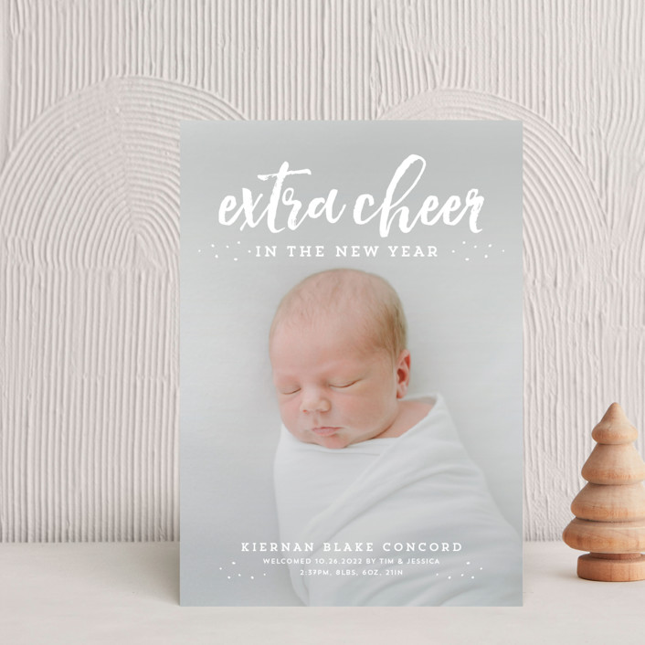 """Extra cheer this year"" - Typography, Typography Holiday Birth Announcement Petite Cards in cranberry by Lea Delaveris."