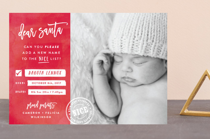 """New Name on the List"" - Funny, Typography Holiday Birth Announcement Petite Cards in Candy Cane by Hooray Creative."