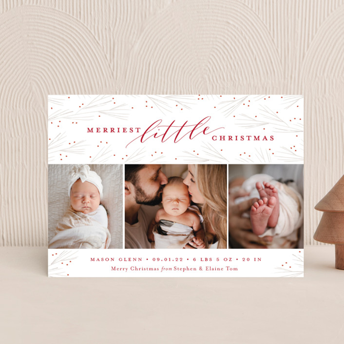 """""""Merriest Little Christmas"""" - Holiday Birth Announcement Petite Cards in Winterberry by Sarah Brown."""