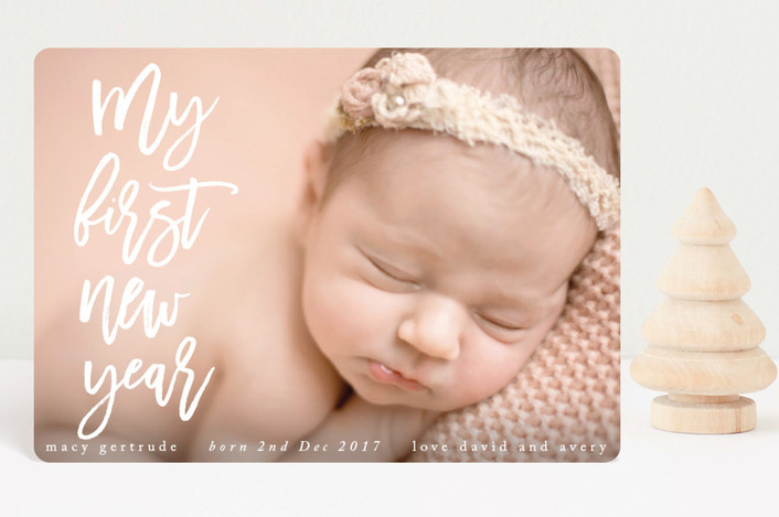 """My First Noel"" - Modern Holiday Birth Announcement Petite Cards in Snow by Catherine Culvenor."