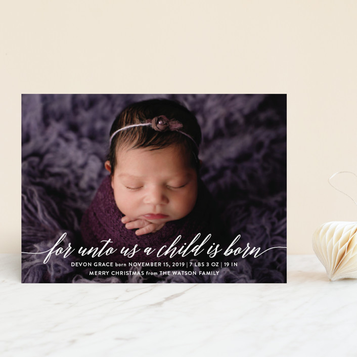 """Child is Born"" - Full-Bleed Photo, Funny Holiday Birth Announcement Petite Cards in Clear by Nicole Barreto."