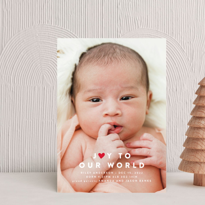 """Our Little World"" - Full-Bleed Photo, Modern Holiday Birth Announcement Petite Cards in Berry by roxy."