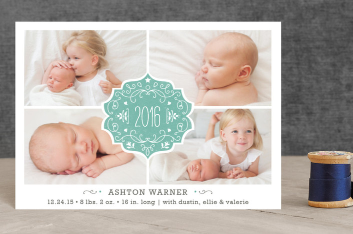 """""""Festive Baby"""" - Elegant, Photo Collage Holiday Birth Announcement Petite Cards in Dusty Blue by Bonjour Paper."""