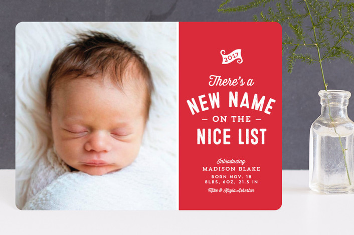 """New name on the nice list"" - Funny Holiday Birth Announcement Petite Cards in Cherry by Lea Delaveris."