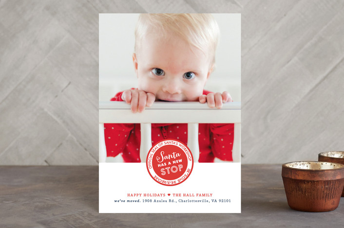 """""""Santa Stop"""" - Modern Holiday Birth Announcement Petite Cards in Berry Red by Carrie ONeal."""