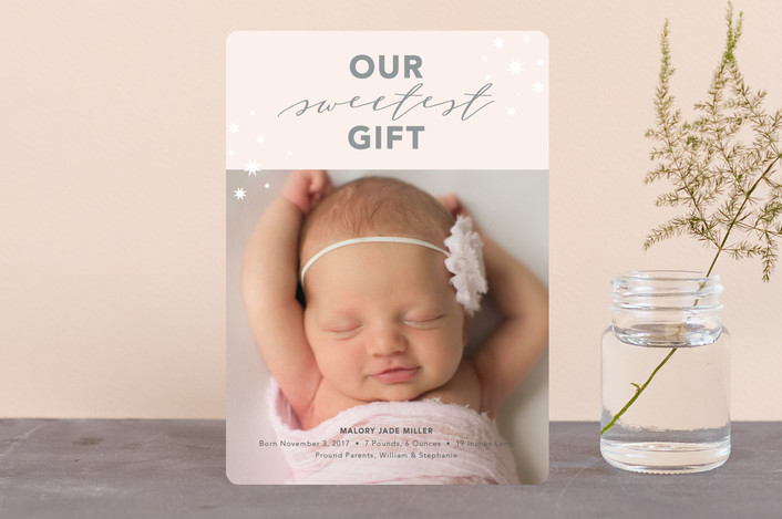 """Our Sweetest Gift"" - Holiday Birth Announcement Petite Cards in Rose by Nicoletta Savod."