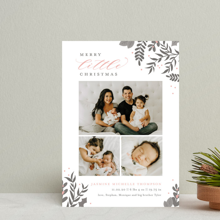"""Littlest Christmas"" - Holiday Birth Announcement Petite Cards in Blush by Sarah Brown."