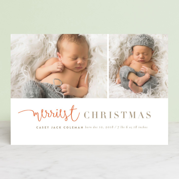 """tuille"" - Elegant, Modern Holiday Birth Announcement Petite Cards in Mandarin by chocomocacino."
