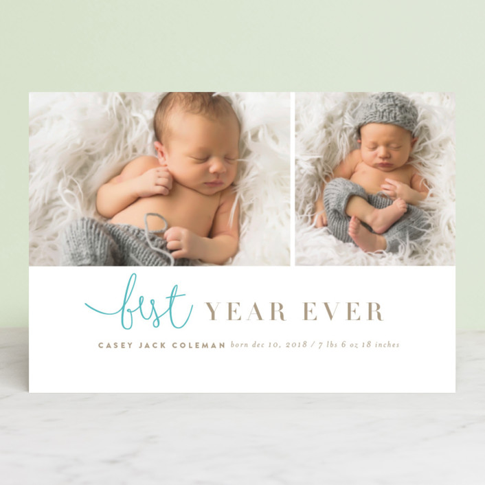 """tuille"" - Elegant, Modern Holiday Birth Announcement Petite Cards in Artic by chocomocacino."