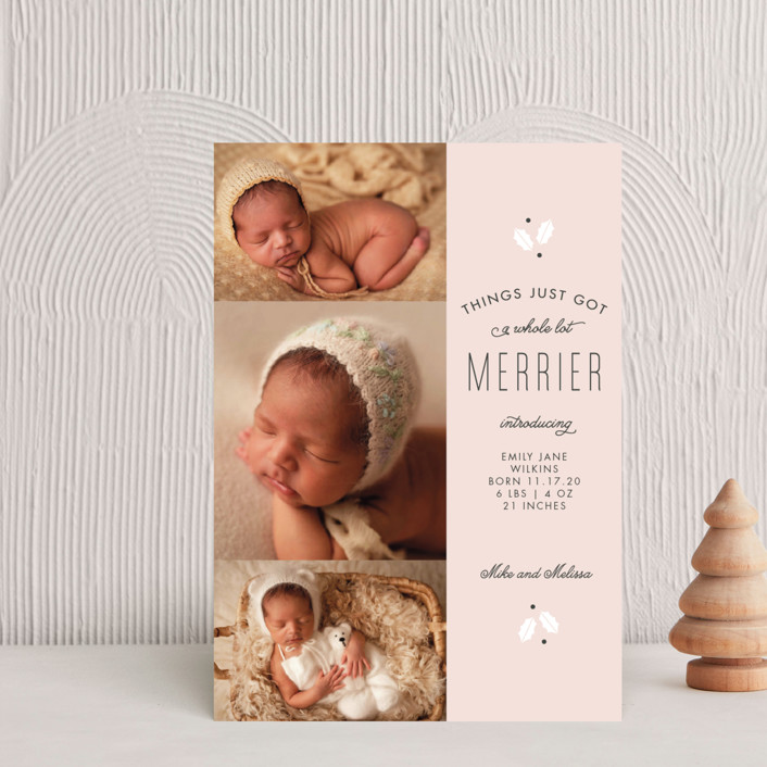 """A Whole Lot Merrier"" - Holiday Birth Announcement Petite Cards in Rudolph by Sandra Picco Design."