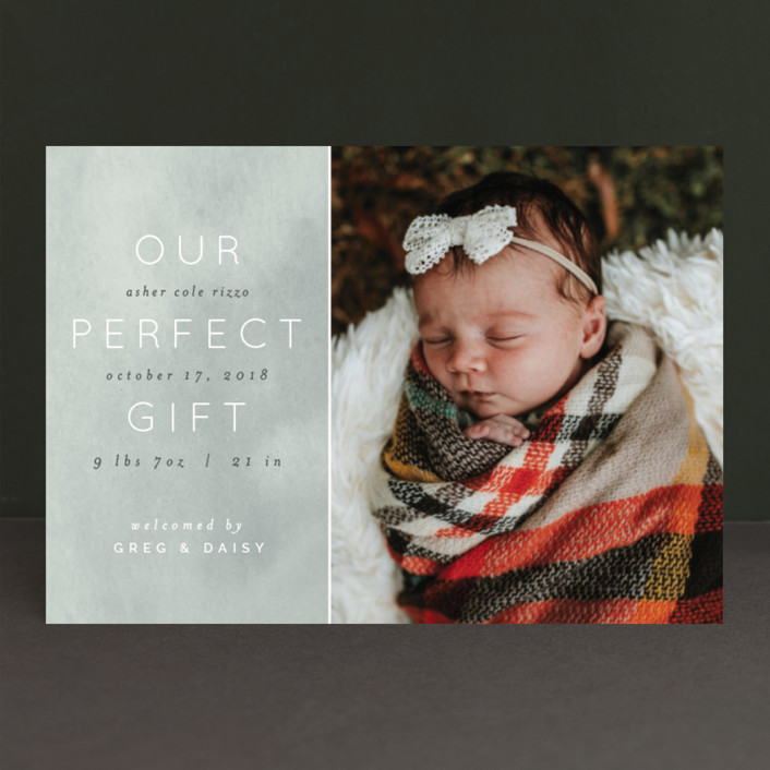 """""""Our Little Gift"""" - Holiday Birth Announcement Petite Cards in Frost by Pixel and Hank."""