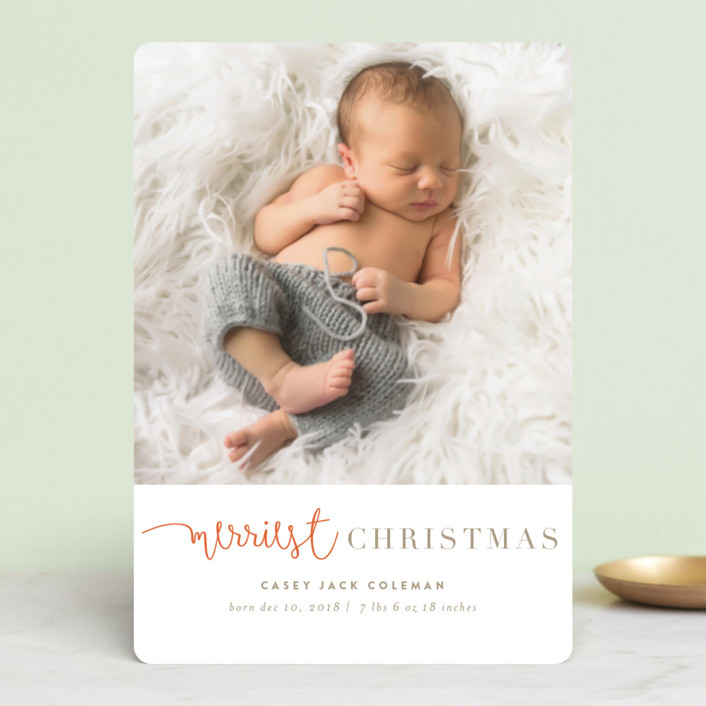 """tuille"" - Holiday Birth Announcement Petite Cards in Mandarin by chocomocacino."