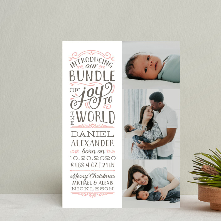 Bundle of Joy to the World Holiday Birth Announcement Petite Cards ...