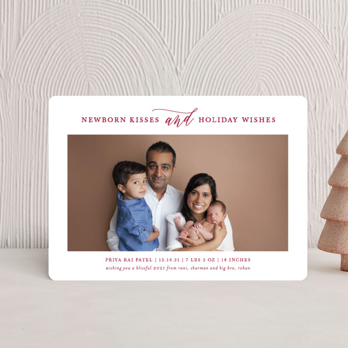 Kisses + Wishes Holiday Birth Announcement Petite Cards by Lauren ...