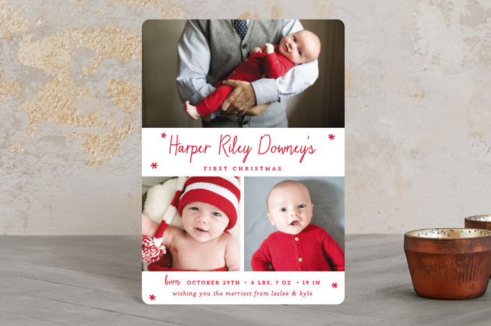 """Baby's First Christmas"" - Holiday Birth Announcement Petite Cards in christmas classic by Sara Hicks Malone."