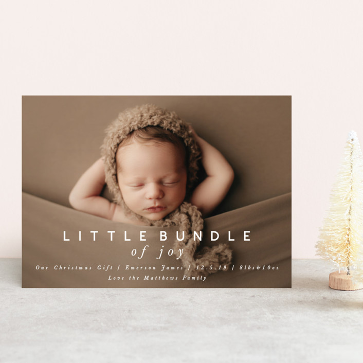 little bundle of joy Holiday Birth Announcement Petite Cards by ...