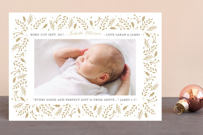 """Gilded Branches"" - Elegant, Floral & Botanical Holiday Birth Announcement Petite Cards in Toasty by Oma N. Ramkhelawan."