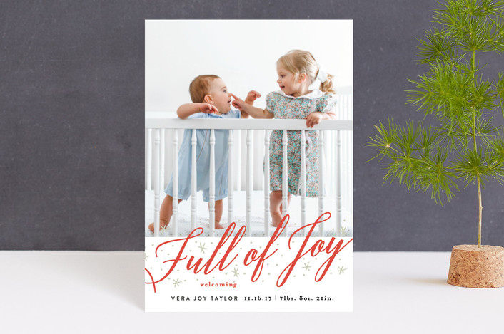 """Full of Joy Sparkle"" - Bold typographic, Elegant Holiday Birth Announcement Petite Cards in Candy Cane by Alethea and Ruth."