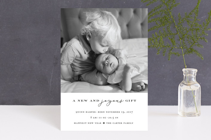"""A Joyous Gift"" - Holiday Birth Announcement Petite Cards in Pure by fatfatin."