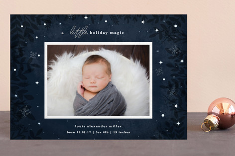A Little Magic Holiday Birth Announcement Petite Cards