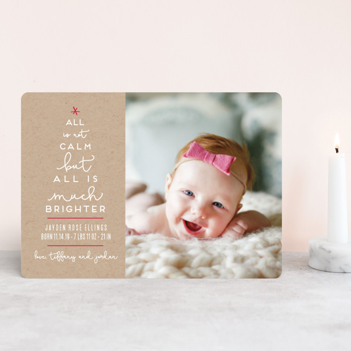 """Less Calm More Bright"" - Funny Holiday Birth Announcement Petite Cards in Candy Cane by Kaydi Bishop."