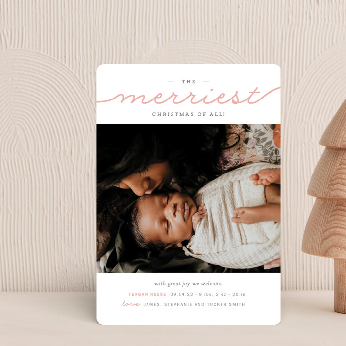 """""""The Merriest Christmas Of All"""" - Holiday Birth Announcement Petite Cards in Bubblegum by Sara Hicks Malone."""