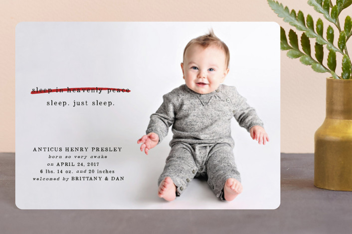 """Just Sleep."" - Funny Holiday Birth Announcement Petite Cards in Candy Cane by Erin L. Wilson."
