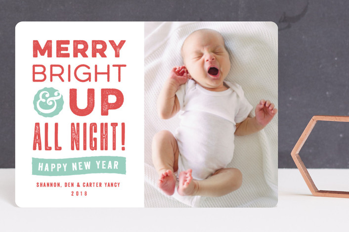 """""""Up All Night"""" - Funny Holiday Birth Announcement Petite Cards in Berry by Olivia Raufman."""